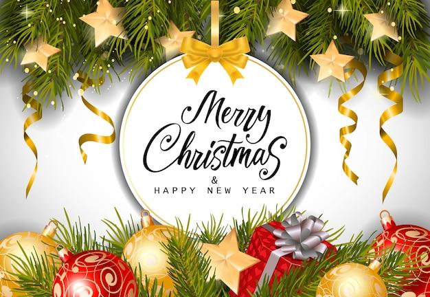 Lettrage de Noël et du nouvel an sur la balise Vecteur gratuit