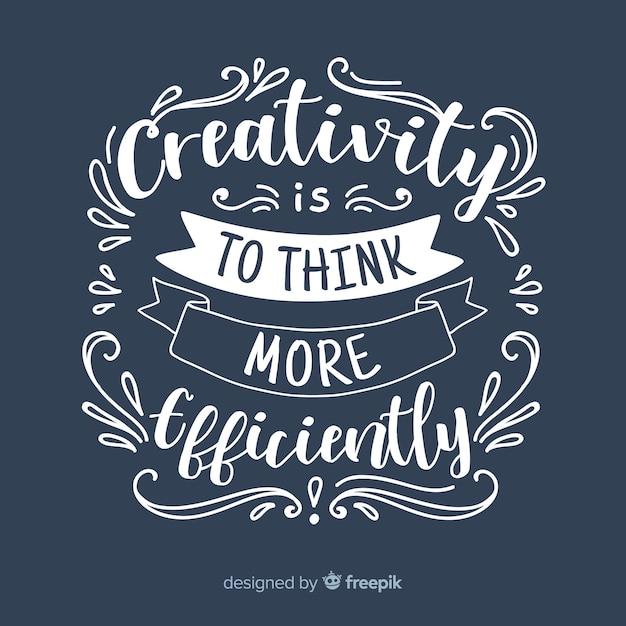 Lettrage design avec citation de la créativité Vecteur gratuit