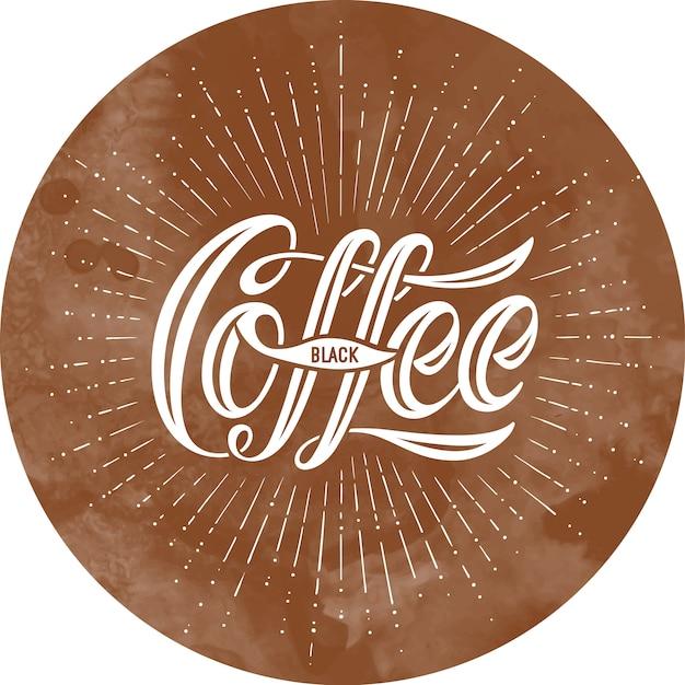 Lettrage dessiné à la main, inscription calligraphique coffee black sur fond marron Vecteur Premium