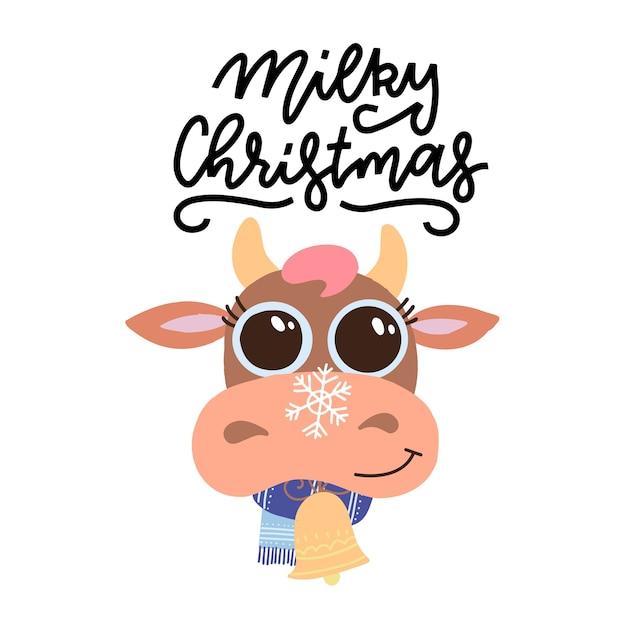 Lettrage Dessiné à La Main - Noël Laiteux. Tête De Vache De Dessin Animé Mignon De Noël Avec écharpe. Vecteur Premium