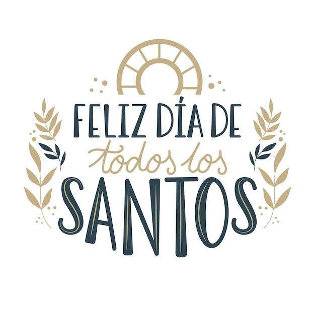 Lettrage Dia De Todos Los Santos Vecteur gratuit