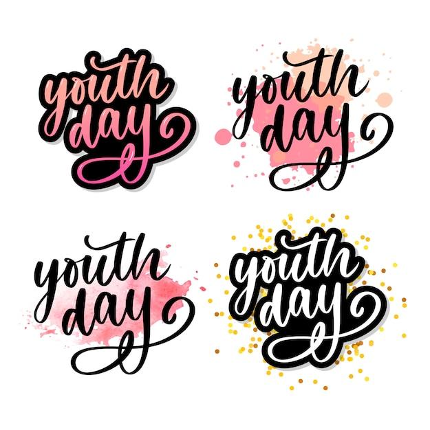Lettrage du slogan jaune de la journée internationale de la jeunesse Vecteur Premium