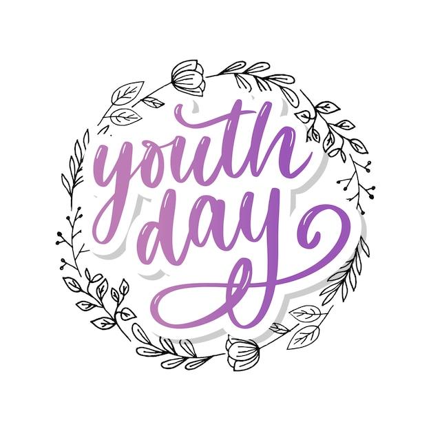 Lettrage du slogan de la journée internationale de la jeunesse, fond jaune Vecteur Premium