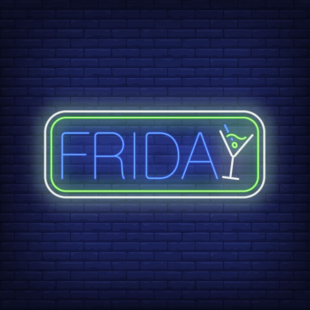 Lettrage du vendredi dans le cadre avec cocktail. publicité du parti. Vecteur gratuit
