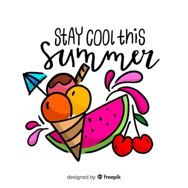 Lettrage d'été dessiné à la main avec la pastèque Vecteur gratuit
