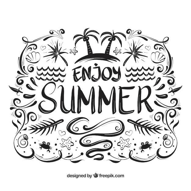 Lettrage d'été à l'encre noire Vecteur gratuit