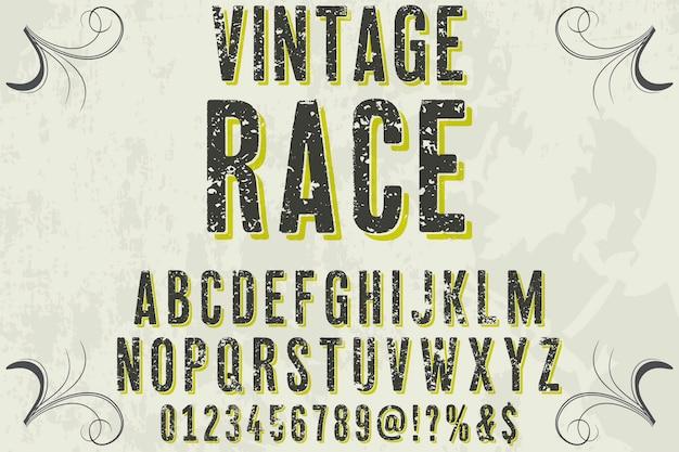 Lettrage étiquette design course vintage Vecteur Premium