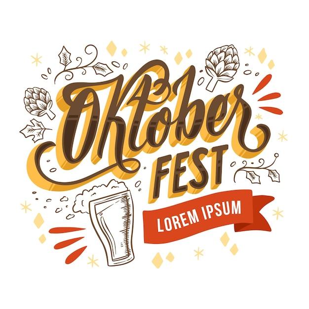 Lettrage D'événement Oktoberfest Dessiné à La Main Vecteur gratuit