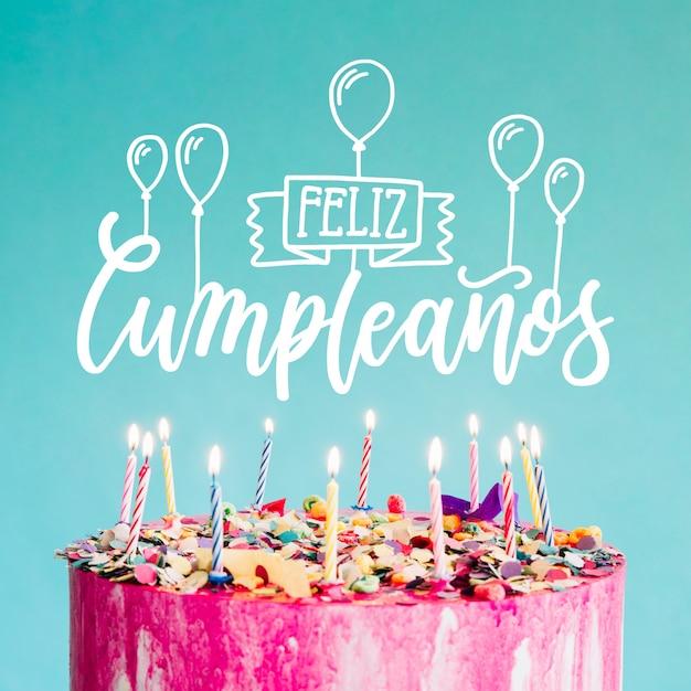 Lettrage Feliz Cumpleaños Vecteur gratuit