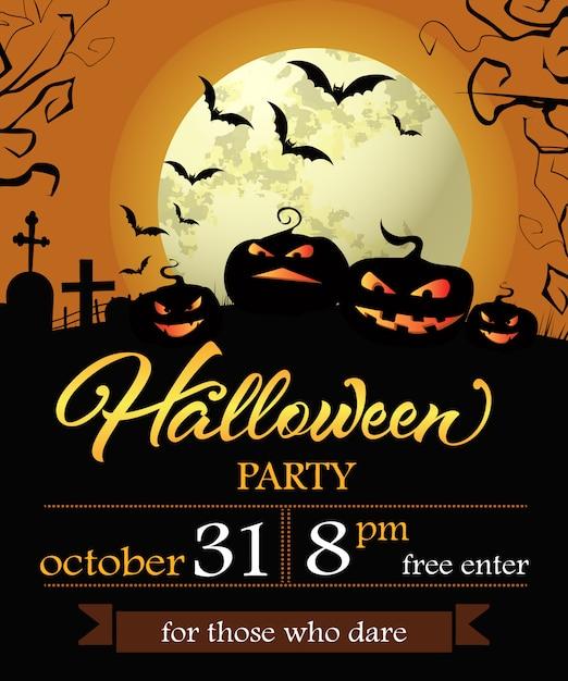 Lettrage de fête d'halloween avec date, citrouilles et lune Vecteur gratuit