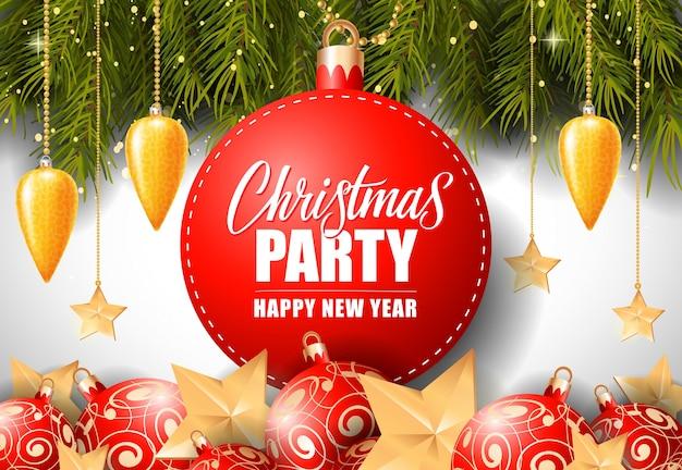 Lettrage De Fête De Noël Sur La Balise Ronde Vecteur gratuit