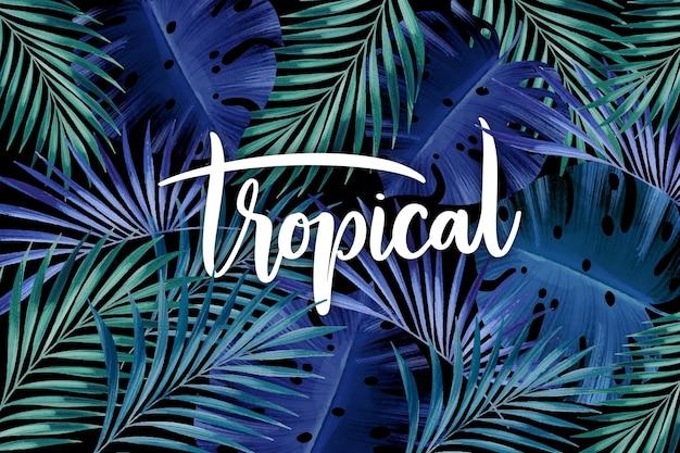 Lettrage De Feuilles Tropicales Dans Les Tons Bleus Vecteur gratuit
