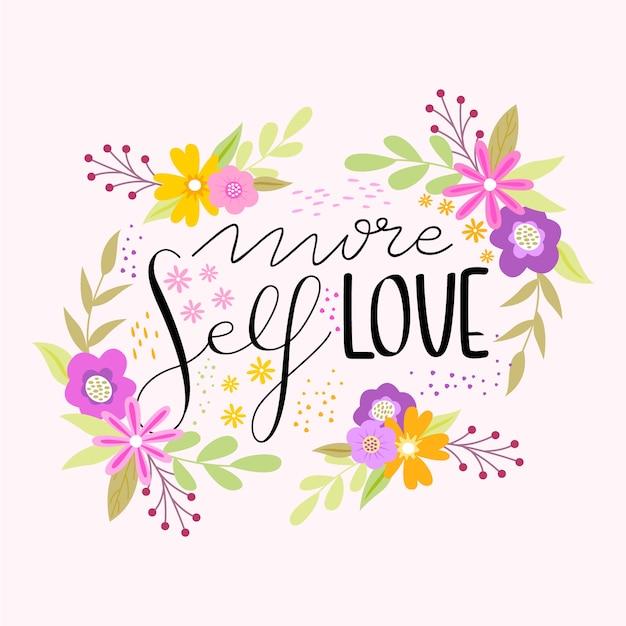 Lettrage Floral Plus Auto-amour Vecteur gratuit