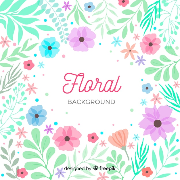 Lettrage de fond floral entouré par la nature Vecteur gratuit