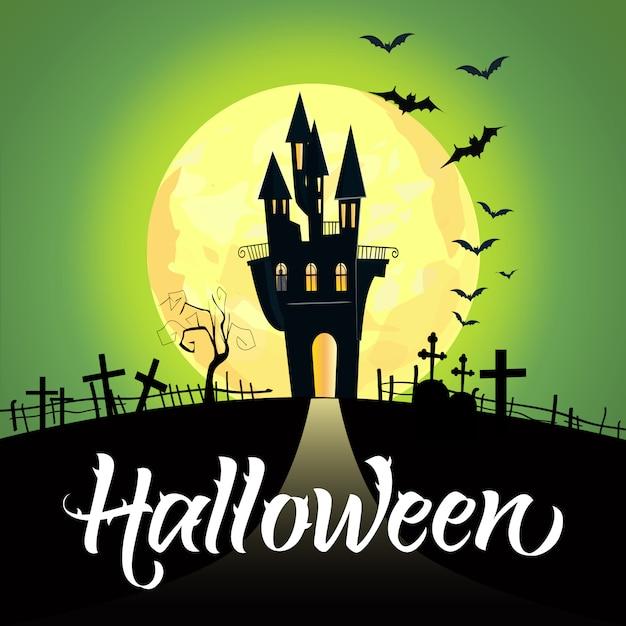 Lettrage d'halloween avec château, lune et cimetière Vecteur gratuit
