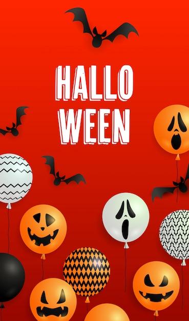 Lettrage d'halloween, chauves-souris et ballons à la citrouille Vecteur gratuit