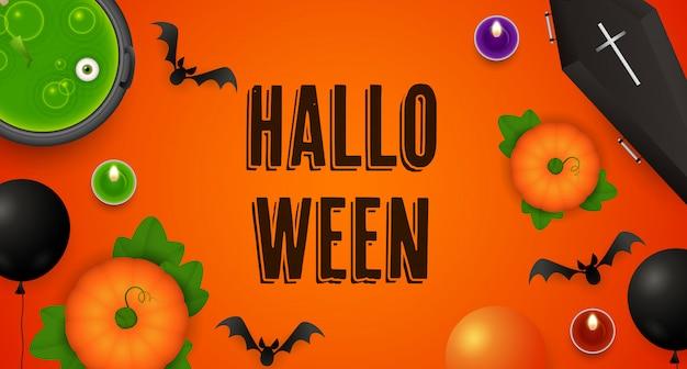 Lettrage d'halloween avec citrouilles, chaudron, cercueil et chauves-souris Vecteur gratuit