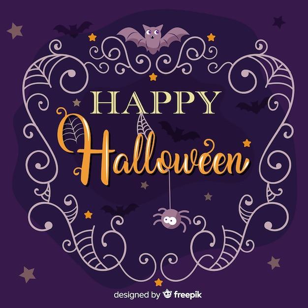 Lettrage D'halloween Heureux Avec Des Araignées Vecteur gratuit