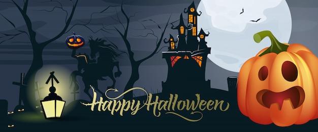 Lettrage halloween heureux avec citrouille, lune et château Vecteur gratuit