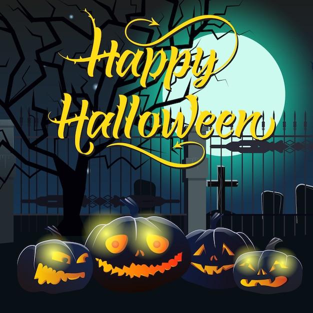 Lettrage d'halloween heureux avec lune, citrouilles et cimetière Vecteur gratuit