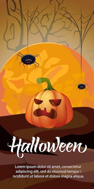 Lettrage d'halloween avec orange moon, citrouille et araignées Vecteur gratuit