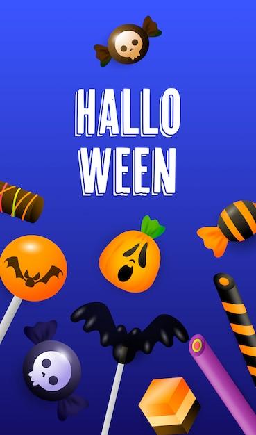 Lettrage d'halloween avec sucettes, bâtons de bonbon et bonbons Vecteur gratuit