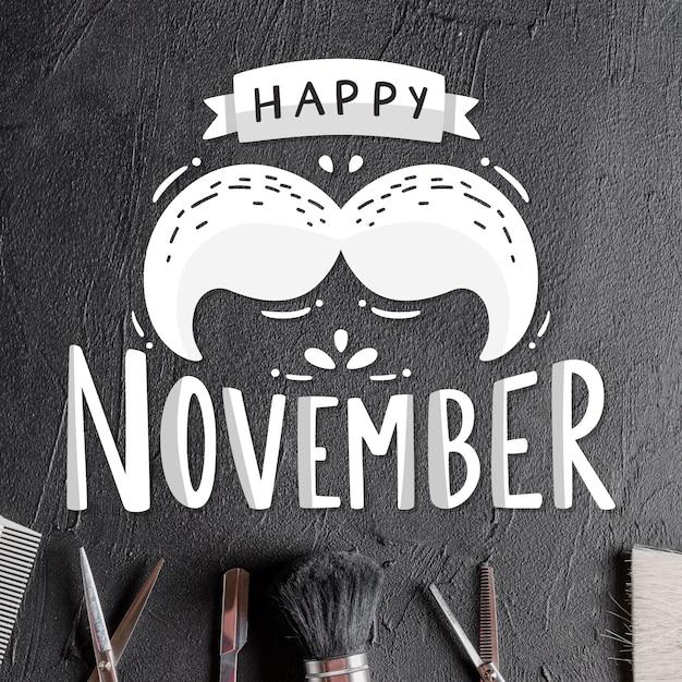 Lettrage happy movember avec moustache Vecteur gratuit