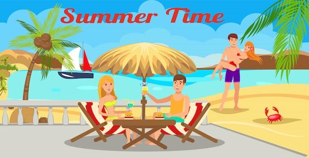Lettrage de l'heure d'été Vecteur Premium