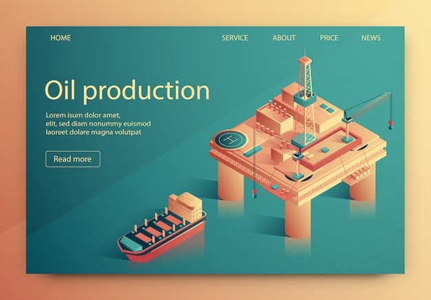 Lettrage illustration vectorielle de production de pétrole. Vecteur Premium