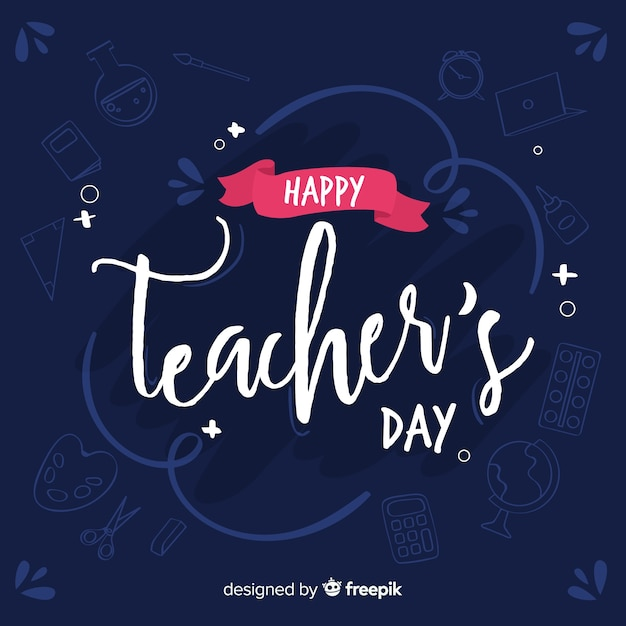 Lettrage de jour des enseignants Vecteur gratuit