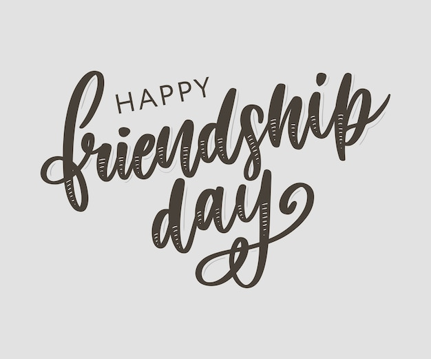Lettrage de jour heureux amitié dessinés à la main Vecteur Premium