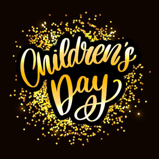 Lettrage de jour pour enfants. titre de la fête des enfants heureux. inscription de la journée des enfants heureux. Vecteur Premium