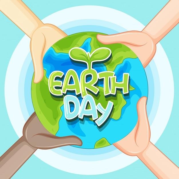 Lettrage de jour de la terre et illustration du globe terrestre Vecteur Premium