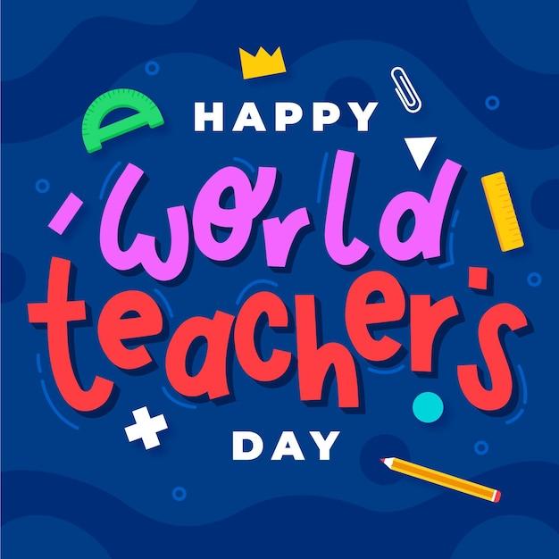 Lettrage De La Journée Des Enseignants Heureux Vecteur Premium