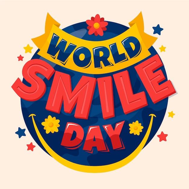 Lettrage De La Journée Mondiale Du Sourire Avec Des étoiles Vecteur gratuit