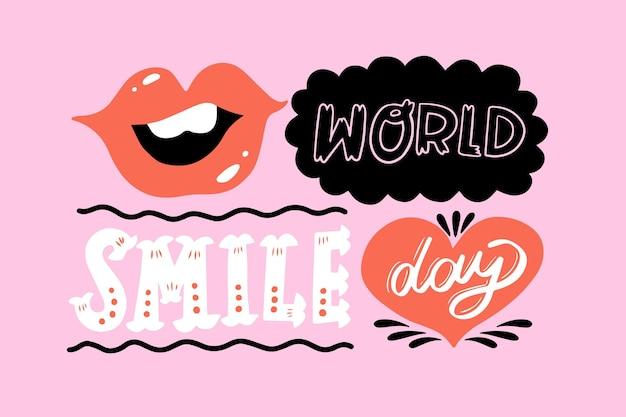 Lettrage De La Journée Mondiale Du Sourire Avec Des Lèvres Vecteur gratuit