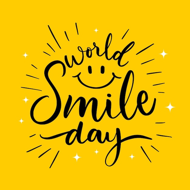 Lettrage De La Journée Mondiale Du Sourire Avec Un Visage Heureux Vecteur Premium