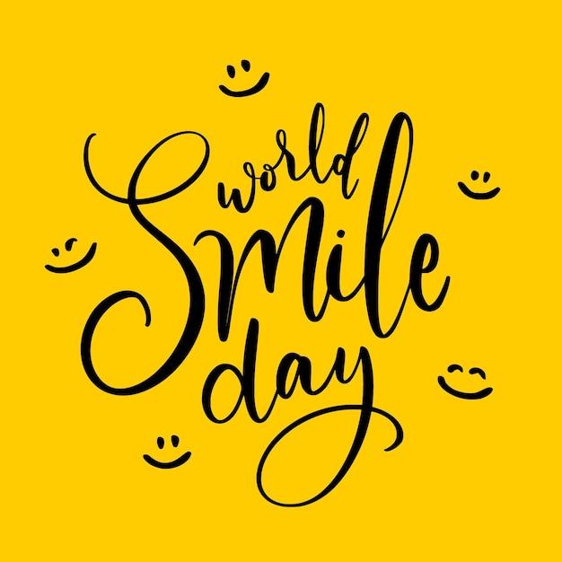Lettrage De La Journée Mondiale Du Sourire Avec Des Visages Heureux Vecteur gratuit