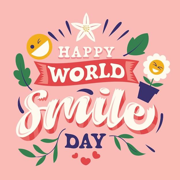 Lettrage De La Journée Mondiale Du Sourire Vecteur Premium