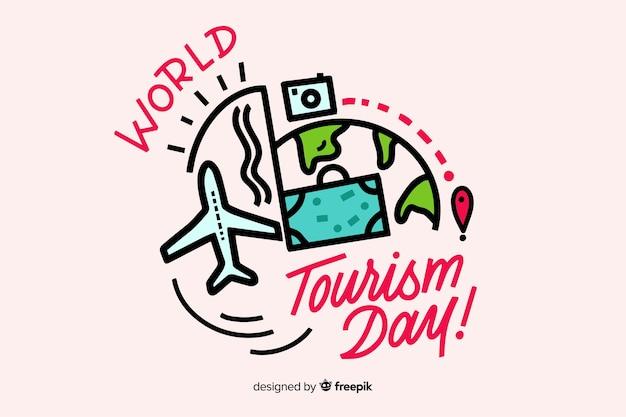 Lettrage de la journée mondiale du tourisme Vecteur gratuit