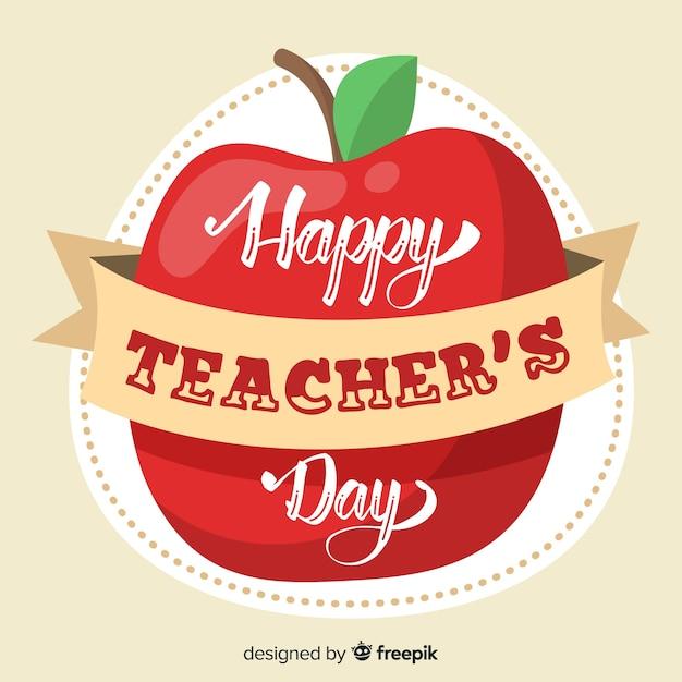 Lettrage de la journée mondiale des enseignants Vecteur gratuit