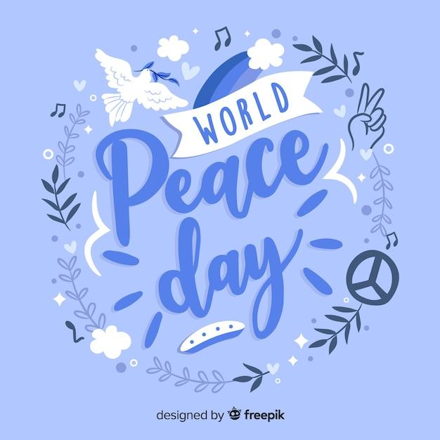 Lettrage de la journée mondiale de la paix Vecteur gratuit