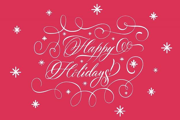 Lettrage joyeuses fêtes blanc sur rouge Vecteur gratuit
