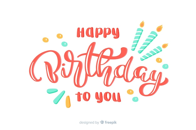 Lettrage joyeux anniversaire avec des bougies Vecteur gratuit