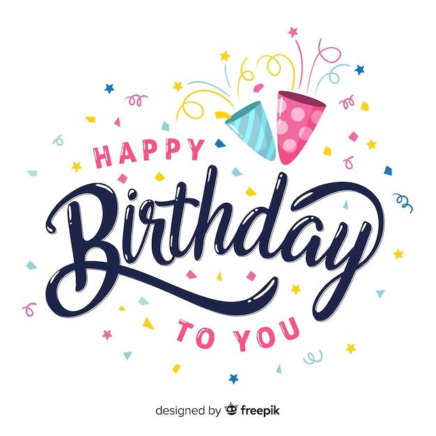 Lettrage joyeux anniversaire dessiné à la main Vecteur gratuit