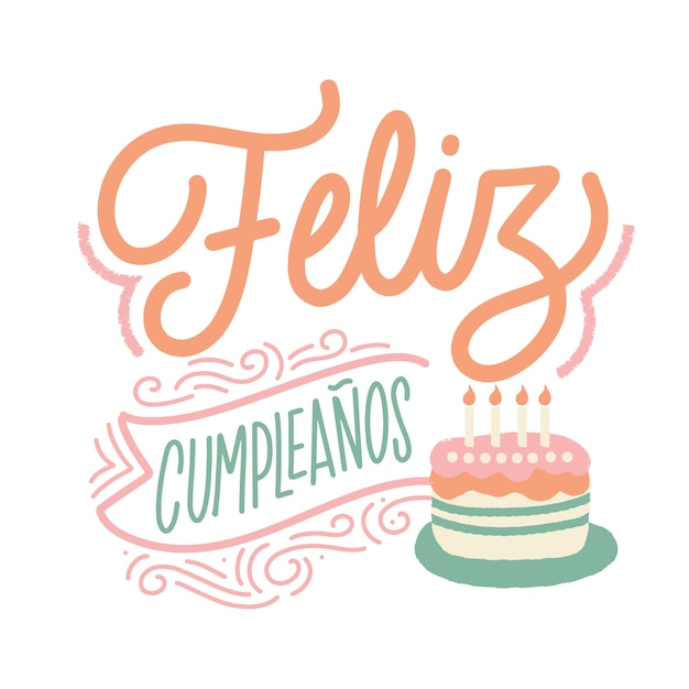 Lettrage De Joyeux Anniversaire En Espagnol Avec Gâteau Vecteur Premium