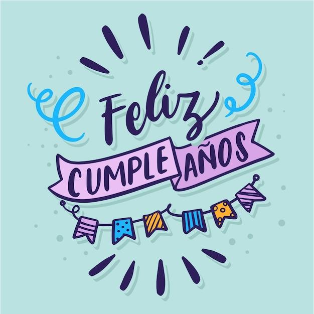 Lettrage De Joyeux Anniversaire En Espagnol Vecteur gratuit