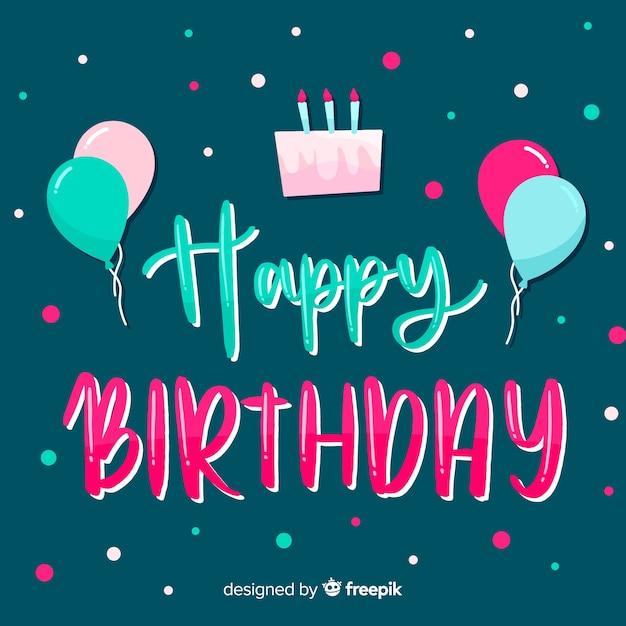 Lettrage joyeux anniversaire avec un gâteau Vecteur gratuit
