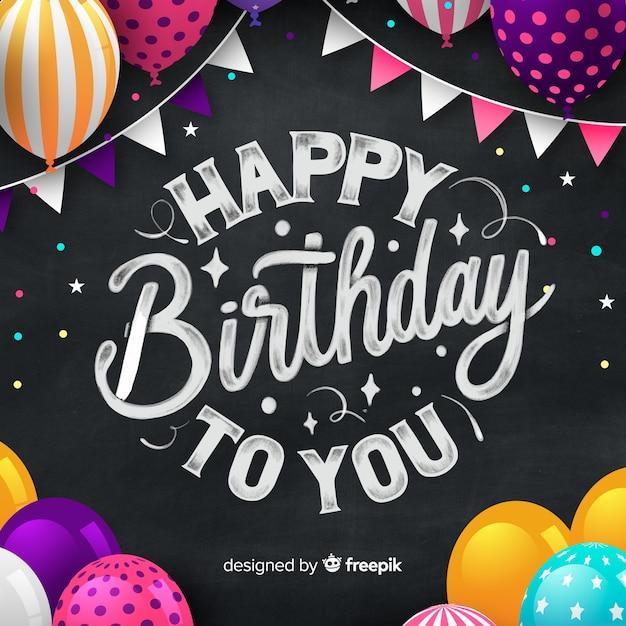 Lettrage joyeux anniversaire Vecteur gratuit