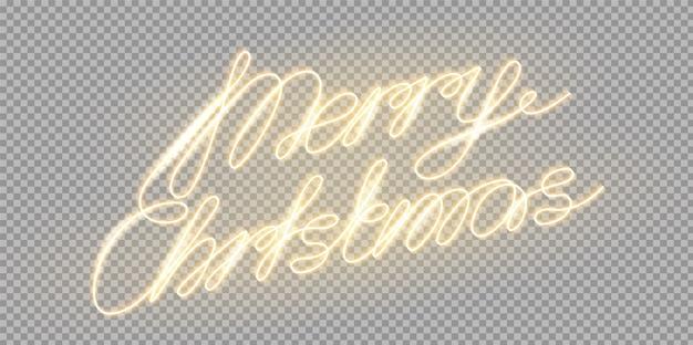 Lettrage Lumineux De Vecteur Joyeux Noël Vecteur Premium